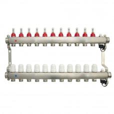 Коллектор.группа ONDO нерж сталь 11 вых. в сборе с расходомерами и термостатическими клапанами