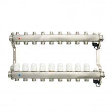 Коллекторная группа ONDO нерж сталь 9 вых. в сборе с термостатическими и запорными клапанами