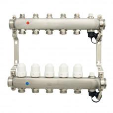 Коллекторная группа ONDO нерж сталь 5 вых. в сборе с термостатическими и запорными клапанами
