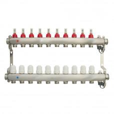 Коллектор.группа ONDO нерж сталь 10 вых. в сборе с расходомерами и термостатическими клапанами