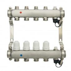 Коллекторная группа ONDO нерж сталь 4 вых. в сборе с термостатическими и запорными клапанами
