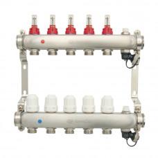 Коллектор.группа ONDO нерж сталь 5 вых. в сборе с расходомерами и термостатическими клапанами