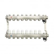Коллекторная группа ONDO нерж сталь 8 вых. в сборе с термостатическими и запорными клапанами