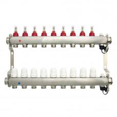 Коллектор.группа ONDO нерж сталь 9 вых. в сборе с расходомерами и термостатическими клапанами