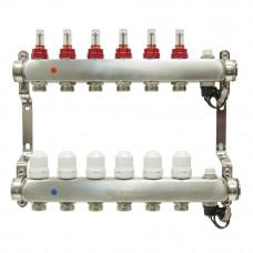 Коллектор.группа ONDO нерж сталь 6 вых. в сборе с расходомерами и термостатическими клапанами