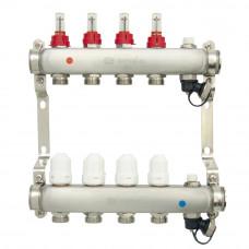 Коллектор.группа ONDO нерж сталь 4 вых. в сборе с расходомерами и термостатическими клапанами