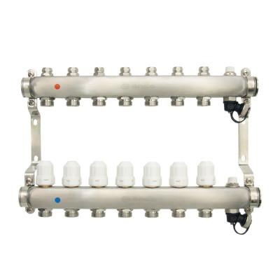 Коллекторная группа ONDO нерж сталь 7 вых. в сборе с термостатическими и запорными клапанами