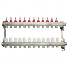 Коллектор.группа ONDO нерж сталь 12 вых. в сборе с расходомерами и термостатическими клапанами