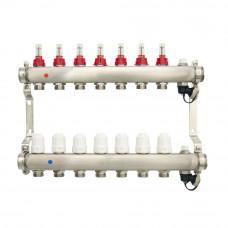 Коллектор.группа ONDO нерж сталь 7 вых. в сборе с расходомерами и термостатическими клапанами