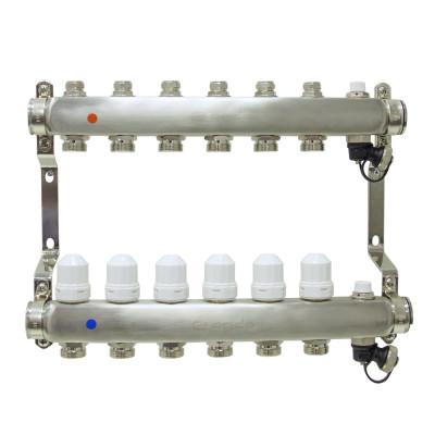 Коллекторная группа ONDO нерж сталь 6 вых. в сборе с термостатическими и запорными клапанами